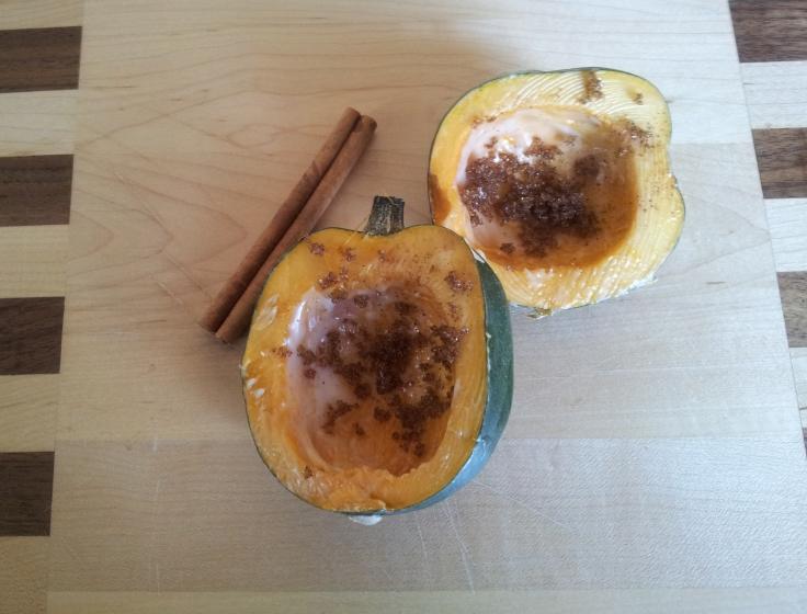 דלעת ערמונים, חמאה, סוכר חום וקינמון